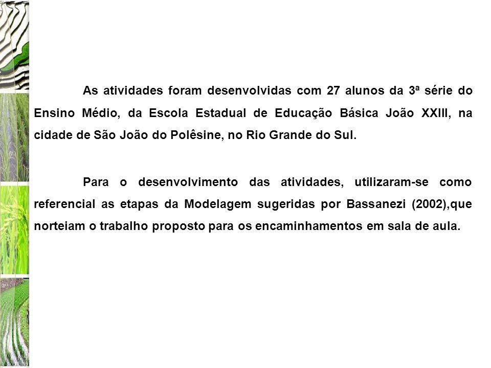 As atividades foram desenvolvidas com 27 alunos da 3ª série do Ensino Médio, da Escola Estadual de Educação Básica João XXIII, na cidade de São João d