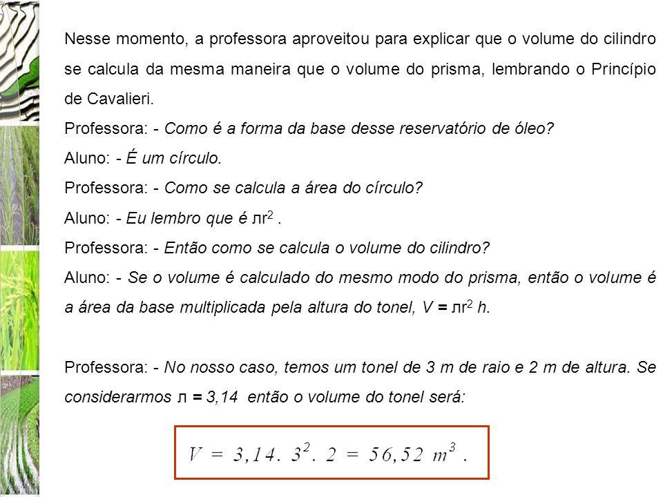 Nesse momento, a professora aproveitou para explicar que o volume do cilindro se calcula da mesma maneira que o volume do prisma, lembrando o Princípi