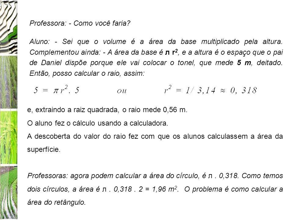 Professora: - Como você faria? Aluno: - Sei que o volume é a área da base multiplicado pela altura. Complementou ainda: - A área da base é л r 2, e a