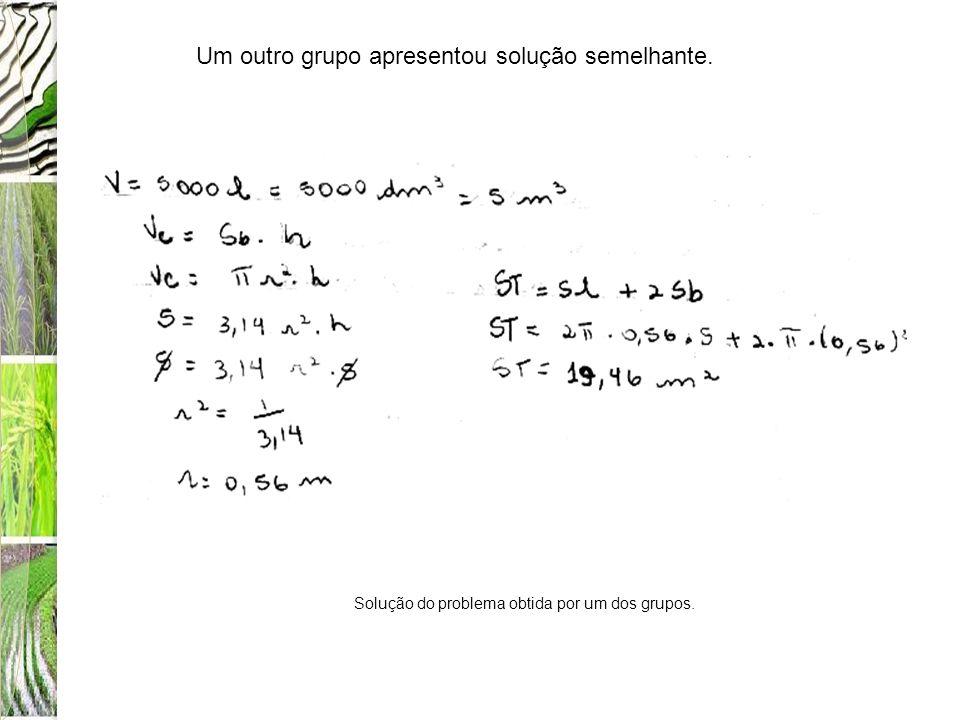 Um outro grupo apresentou solução semelhante. Solução do problema obtida por um dos grupos.