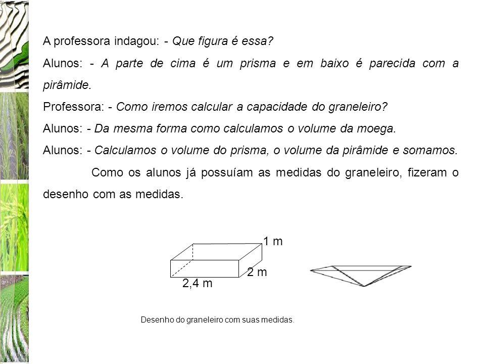 A professora indagou: - Que figura é essa? Alunos: - A parte de cima é um prisma e em baixo é parecida com a pirâmide. Professora: - Como iremos calcu