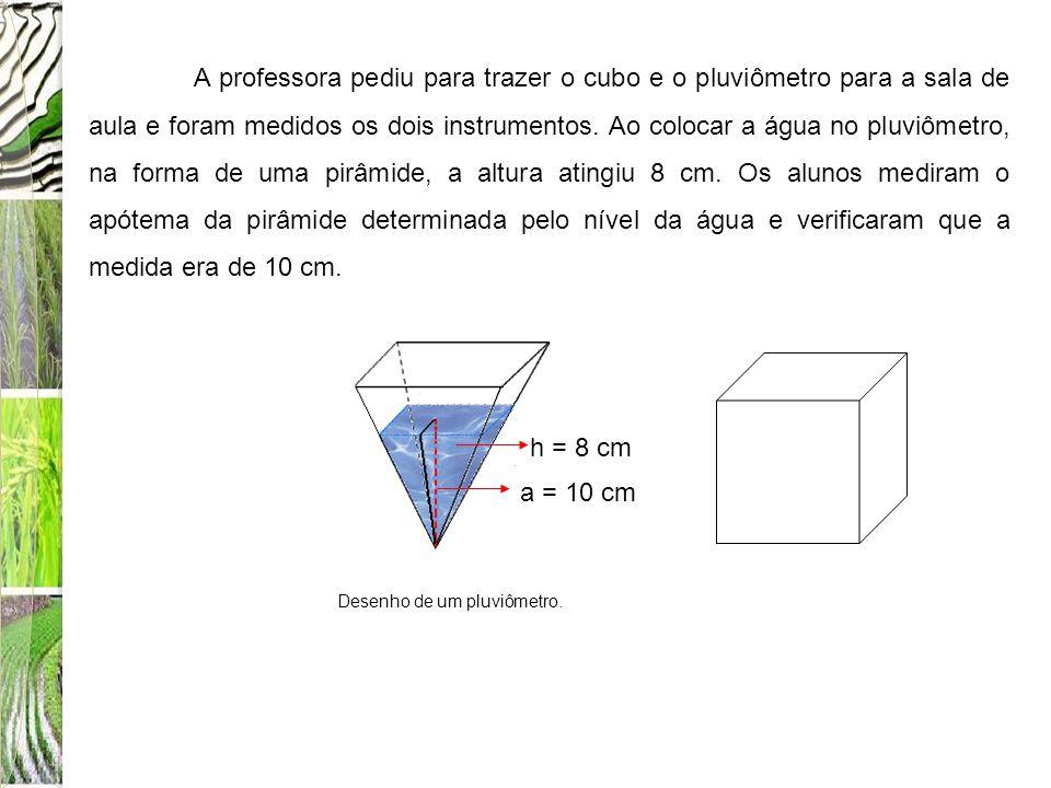 A professora pediu para trazer o cubo e o pluviômetro para a sala de aula e foram medidos os dois instrumentos. Ao colocar a água no pluviômetro, na f
