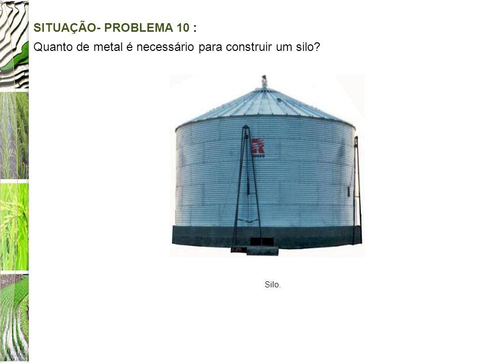 SITUAÇÃO- PROBLEMA 10 : Quanto de metal é necessário para construir um silo? Silo.