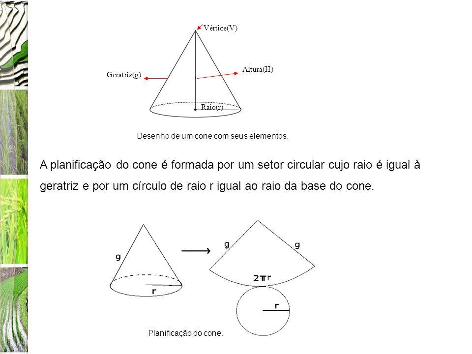 Altura(H) Vértice(V) Raio(r) Geratriz(g) A planificação do cone é formada por um setor circular cujo raio é igual à geratriz e por um círculo de raio