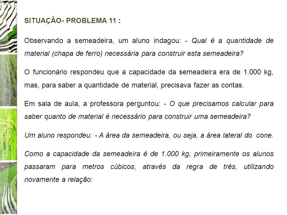 SITUAÇÃO- PROBLEMA 11 : Observando a semeadeira, um aluno indagou: - Qual é a quantidade de material (chapa de ferro) necessária para construir esta s