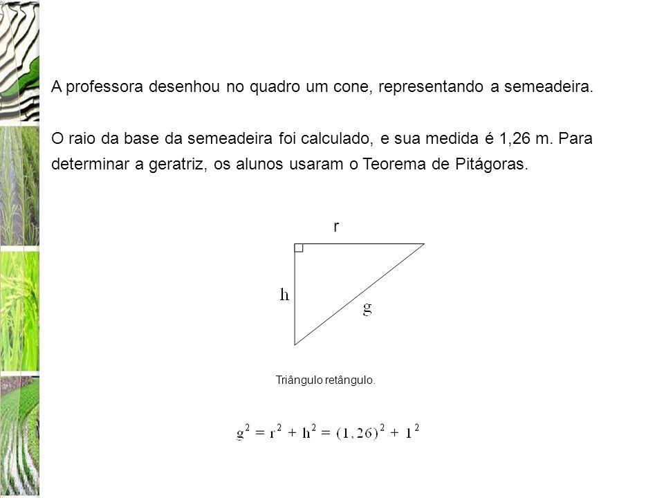A professora desenhou no quadro um cone, representando a semeadeira. O raio da base da semeadeira foi calculado, e sua medida é 1,26 m. Para determina
