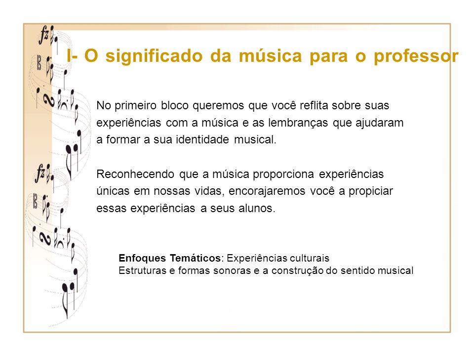 I- O significado da música para o professor No primeiro bloco queremos que você reflita sobre suas experiências com a música e as lembranças que ajuda