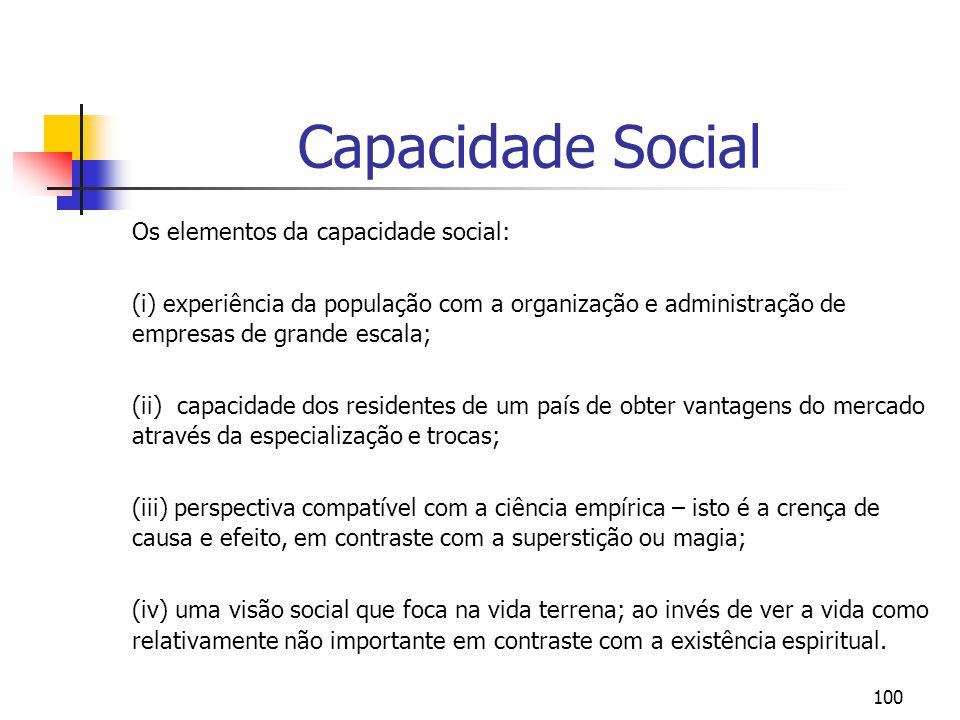 100 Capacidade Social Os elementos da capacidade social: (i) experiência da população com a organização e administração de empresas de grande escala;