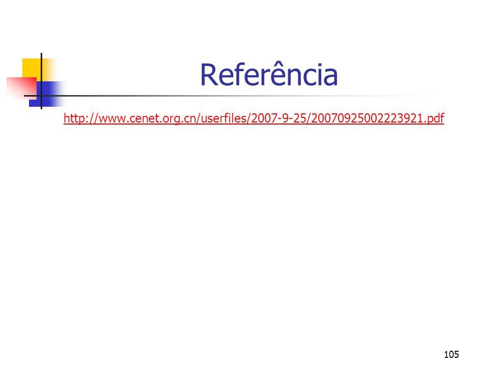 105 Referência http://www.cenet.org.cn/userfiles/2007-9-25/20070925002223921.pdf