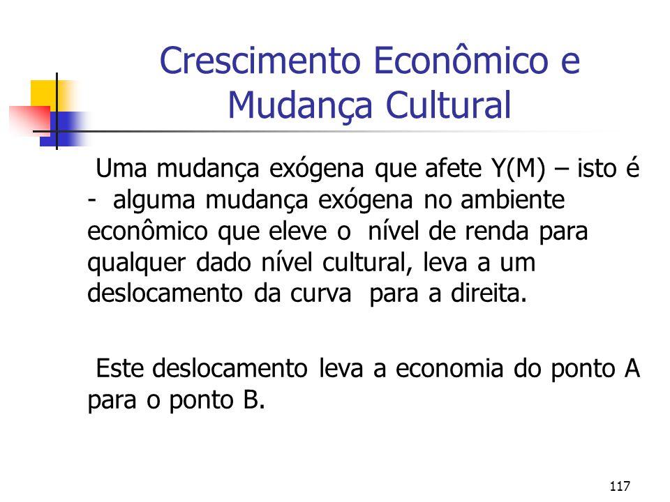117 Crescimento Econômico e Mudança Cultural Uma mudança exógena que afete Y(M) – isto é - alguma mudança exógena no ambiente econômico que eleve o ní
