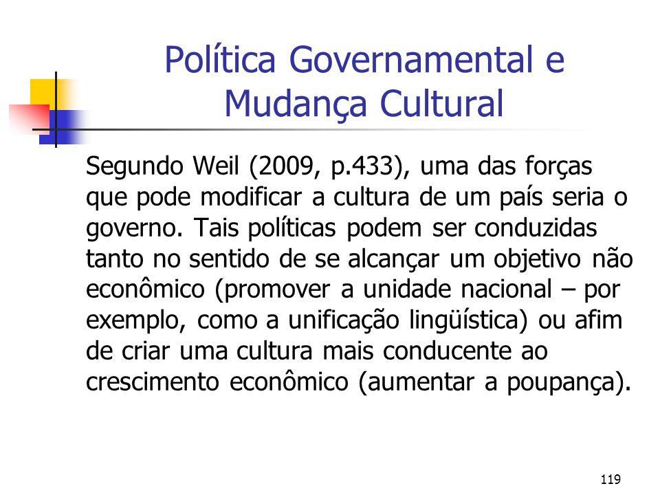 119 Política Governamental e Mudança Cultural Segundo Weil (2009, p.433), uma das forças que pode modificar a cultura de um país seria o governo. Tais