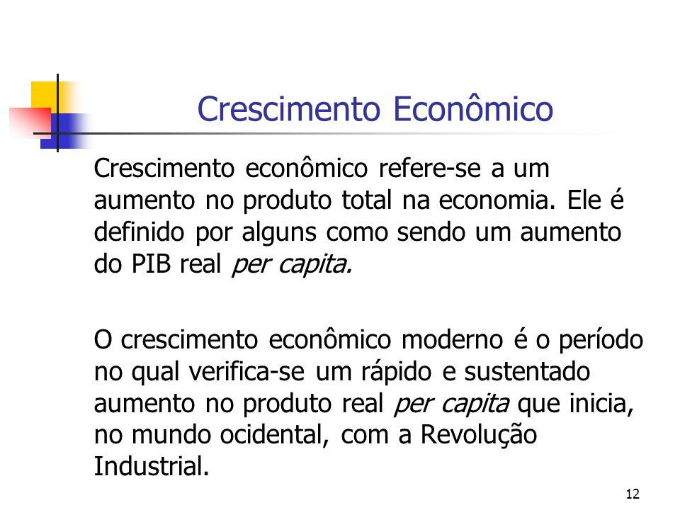 12 Crescimento Econômico Crescimento econômico refere-se a um aumento no produto total na economia. Ele é definido por alguns como sendo um aumento do