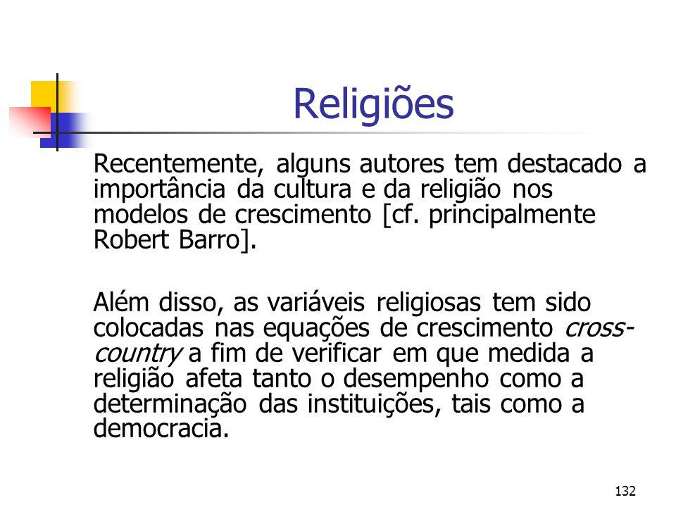 132 Religiões Recentemente, alguns autores tem destacado a importância da cultura e da religião nos modelos de crescimento [cf.