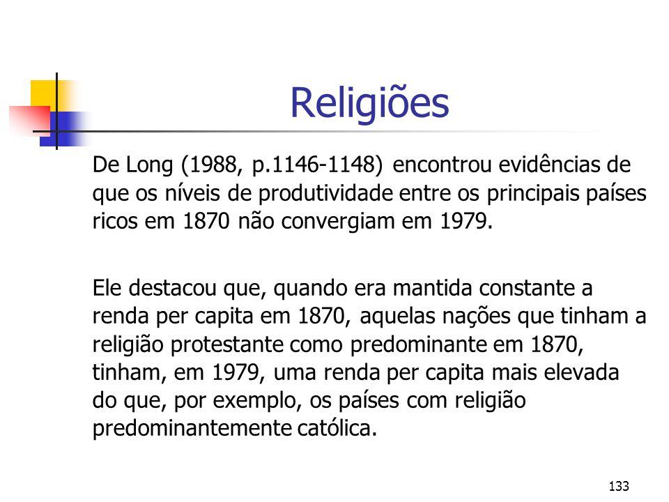 133 Religiões De Long (1988, p.1146-1148) encontrou evidências de que os níveis de produtividade entre os principais países ricos em 1870 não convergiam em 1979.