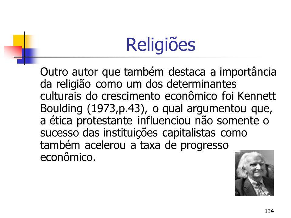134 Religiões Outro autor que também destaca a importância da religião como um dos determinantes culturais do crescimento econômico foi Kennett Boulding (1973,p.43), o qual argumentou que, a ética protestante influenciou não somente o sucesso das instituições capitalistas como também acelerou a taxa de progresso econômico.