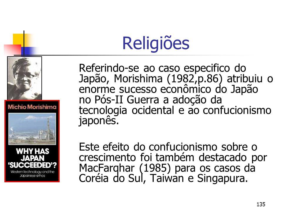 135 Religiões Referindo-se ao caso especifico do Japão, Morishima (1982,p.86) atribuiu o enorme sucesso econômico do Japão no Pós-II Guerra a adoção d
