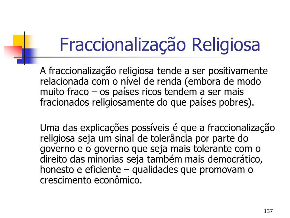 137 Fraccionalização Religiosa A fraccionalização religiosa tende a ser positivamente relacionada com o nível de renda (embora de modo muito fraco – os países ricos tendem a ser mais fracionados religiosamente do que países pobres).