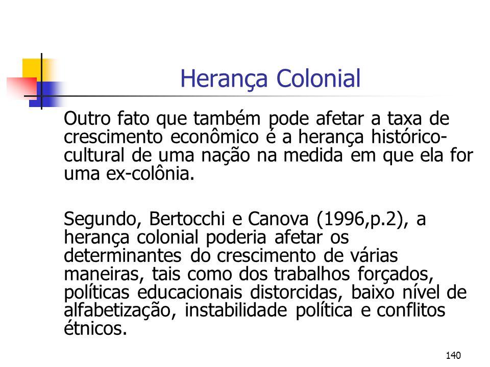140 Herança Colonial Outro fato que também pode afetar a taxa de crescimento econômico é a herança histórico- cultural de uma nação na medida em que e