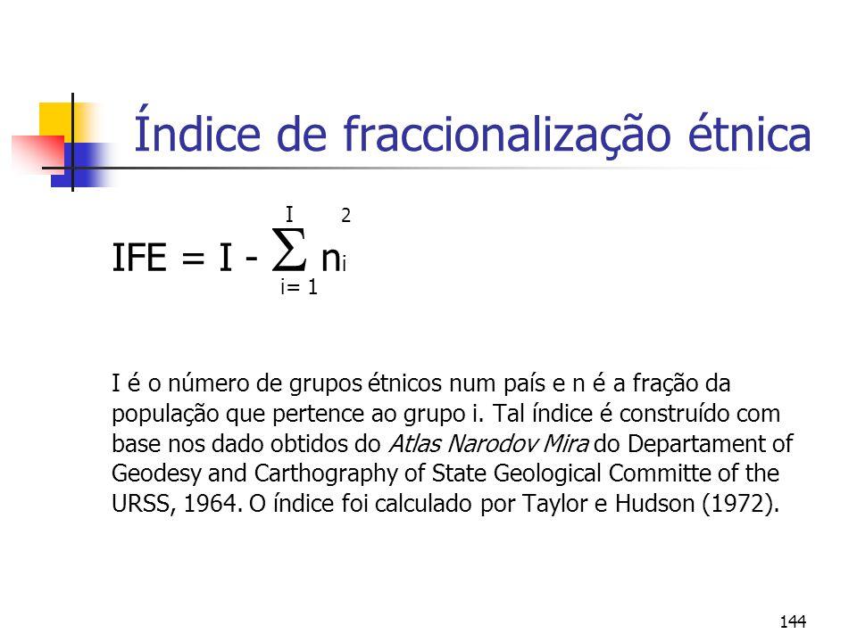 144 Índice de fraccionalização étnica I 2 IFE = I - n i i= 1 I é o número de grupos étnicos num país e n é a fração da população que pertence ao grupo i.