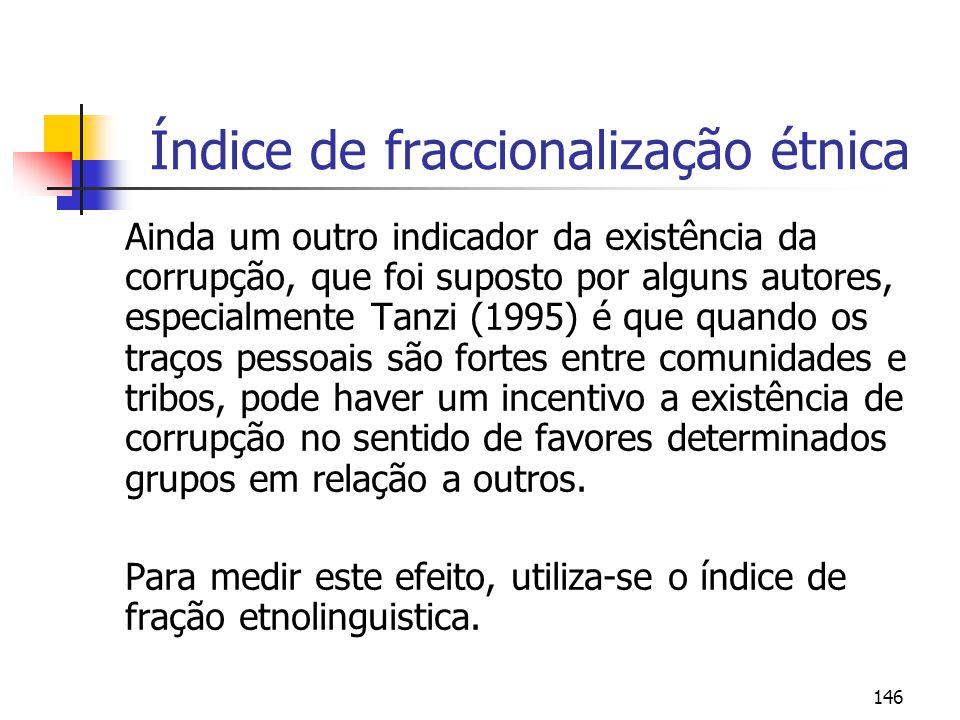 146 Índice de fraccionalização étnica Ainda um outro indicador da existência da corrupção, que foi suposto por alguns autores, especialmente Tanzi (19