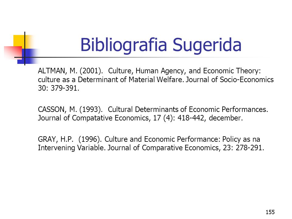 155 Bibliografia Sugerida ALTMAN, M. (2001). Culture, Human Agency, and Economic Theory: culture as a Determinant of Material Welfare. Journal of Soci