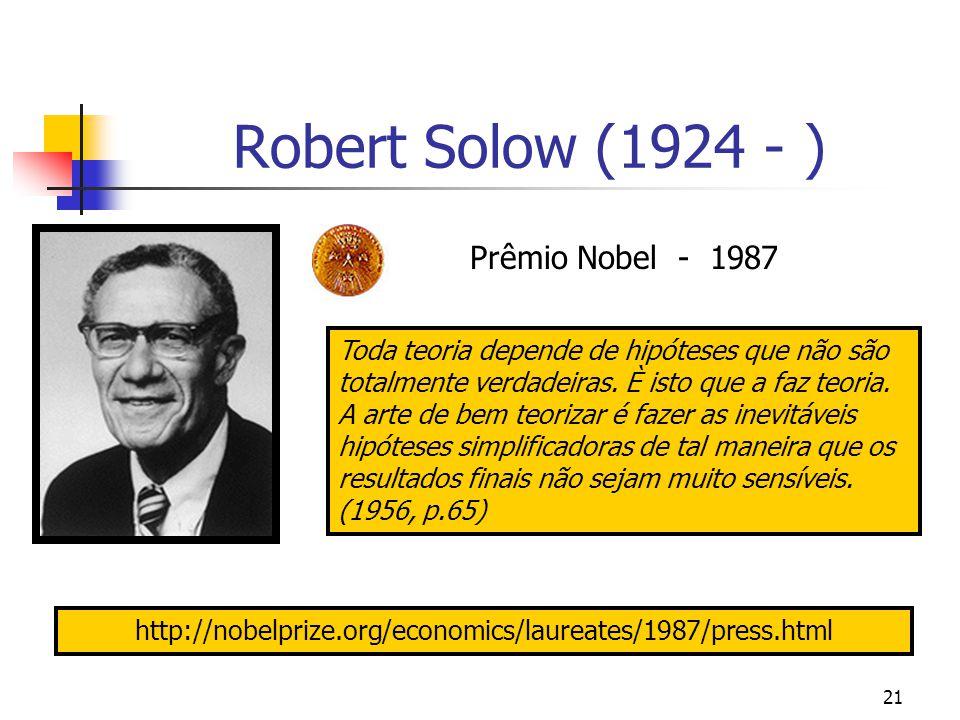 21 Robert Solow (1924 - ) Prêmio Nobel - 1987 Toda teoria depende de hipóteses que não são totalmente verdadeiras. È isto que a faz teoria. A arte de