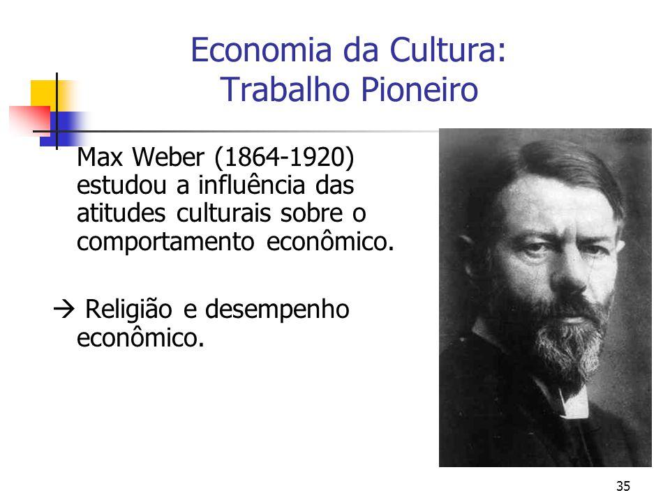 35 Economia da Cultura: Trabalho Pioneiro Max Weber (1864-1920) estudou a influência das atitudes culturais sobre o comportamento econômico.