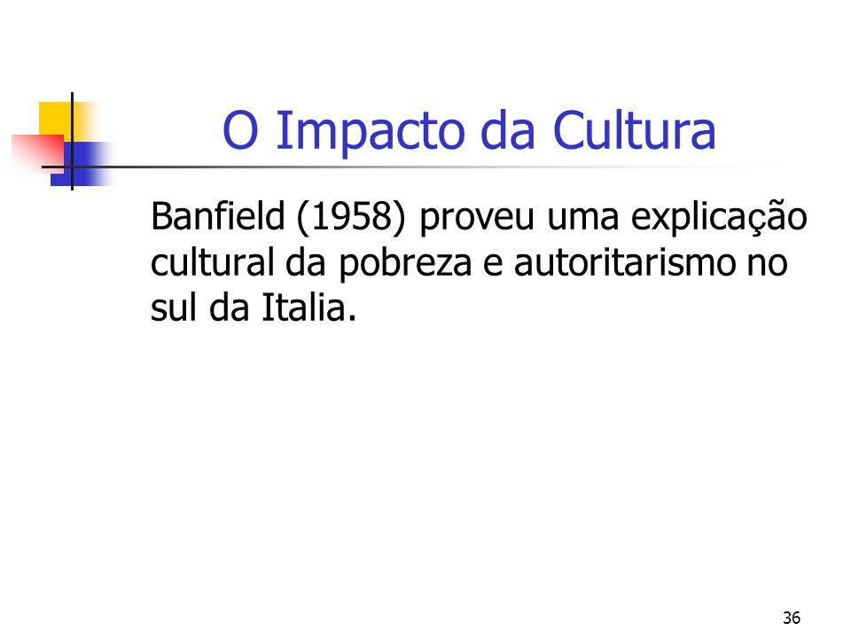 36 O Impacto da Cultura Banfield (1958) proveu uma explica ç ão cultural da pobreza e autoritarismo no sul da Italia.