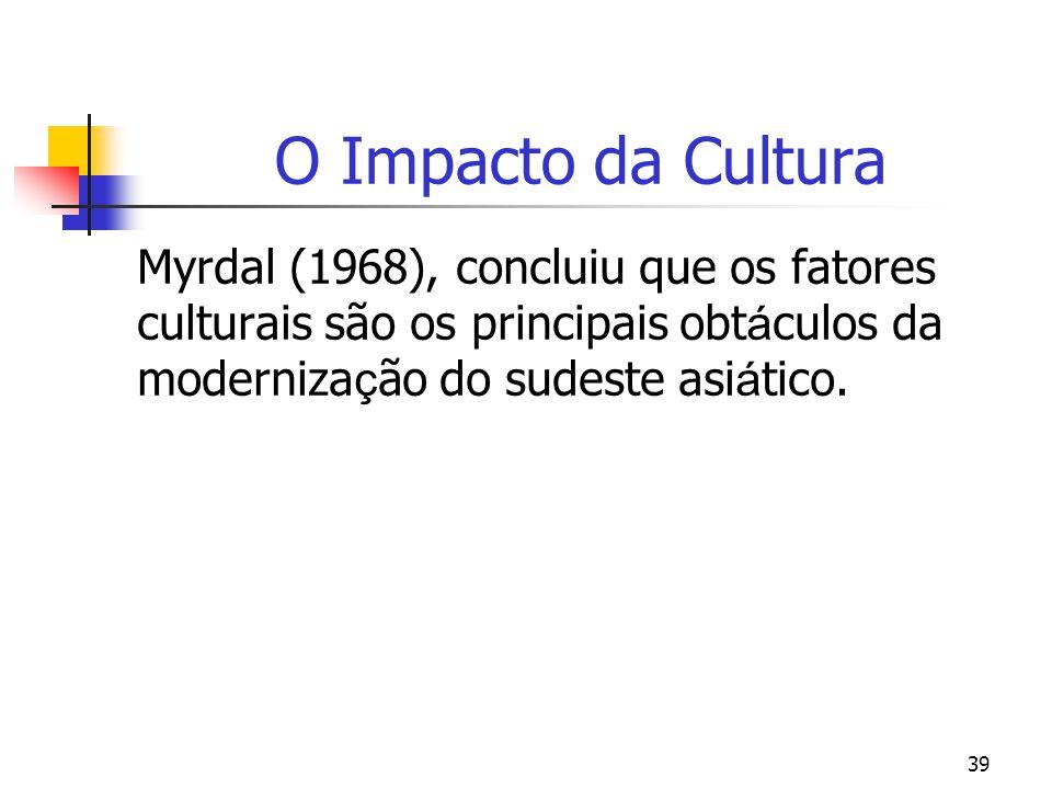 39 O Impacto da Cultura Myrdal (1968), concluiu que os fatores culturais são os principais obt á culos da moderniza ç ão do sudeste asi á tico.