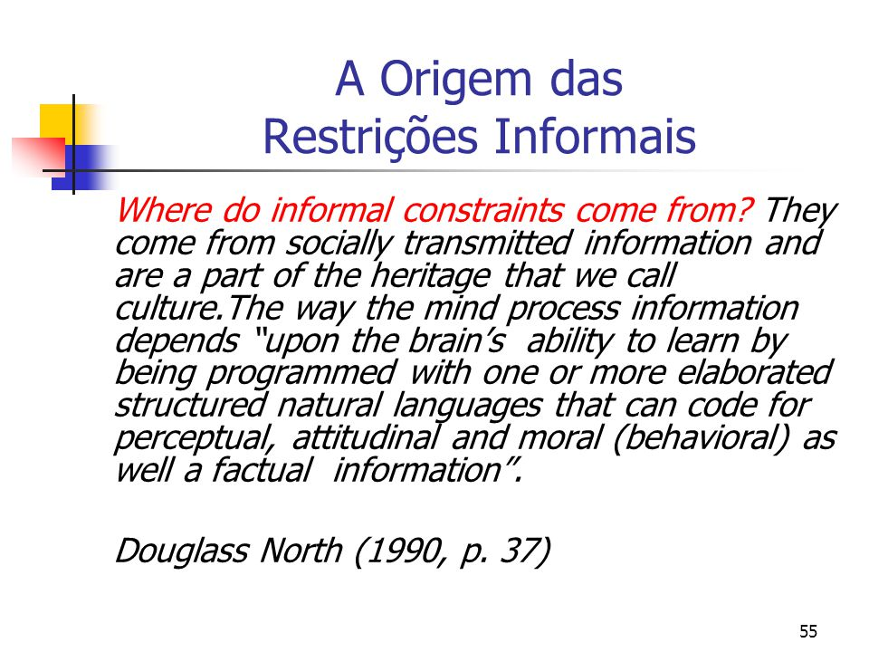 55 A Origem das Restrições Informais Where do informal constraints come from? They come from socially transmitted information and are a part of the he
