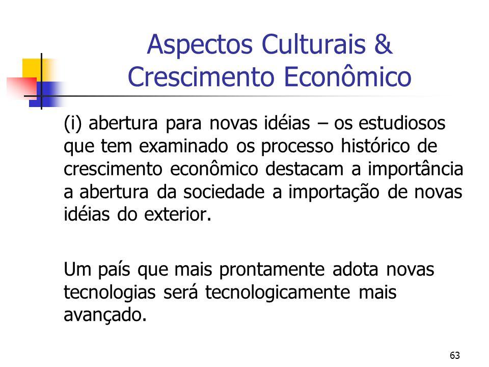 63 Aspectos Culturais & Crescimento Econômico (i) abertura para novas idéias – os estudiosos que tem examinado os processo histórico de crescimento econômico destacam a importância a abertura da sociedade a importação de novas idéias do exterior.