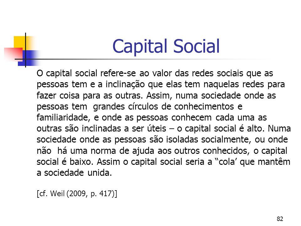82 Capital Social O capital social refere-se ao valor das redes sociais que as pessoas tem e a inclinação que elas tem naquelas redes para fazer coisa