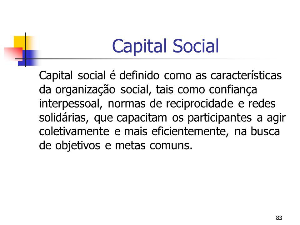 83 Capital Social Capital social é definido como as características da organização social, tais como confiança interpessoal, normas de reciprocidade e redes solidárias, que capacitam os participantes a agir coletivamente e mais eficientemente, na busca de objetivos e metas comuns.