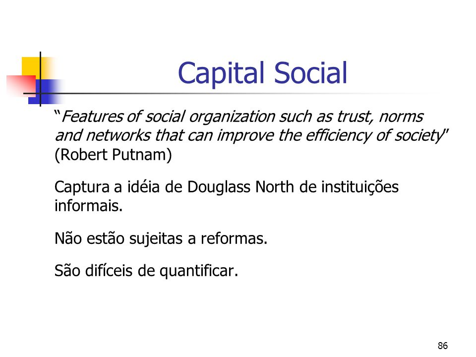 86 Capital Social Features of social organization such as trust, norms and networks that can improve the efficiency of society (Robert Putnam) Captura