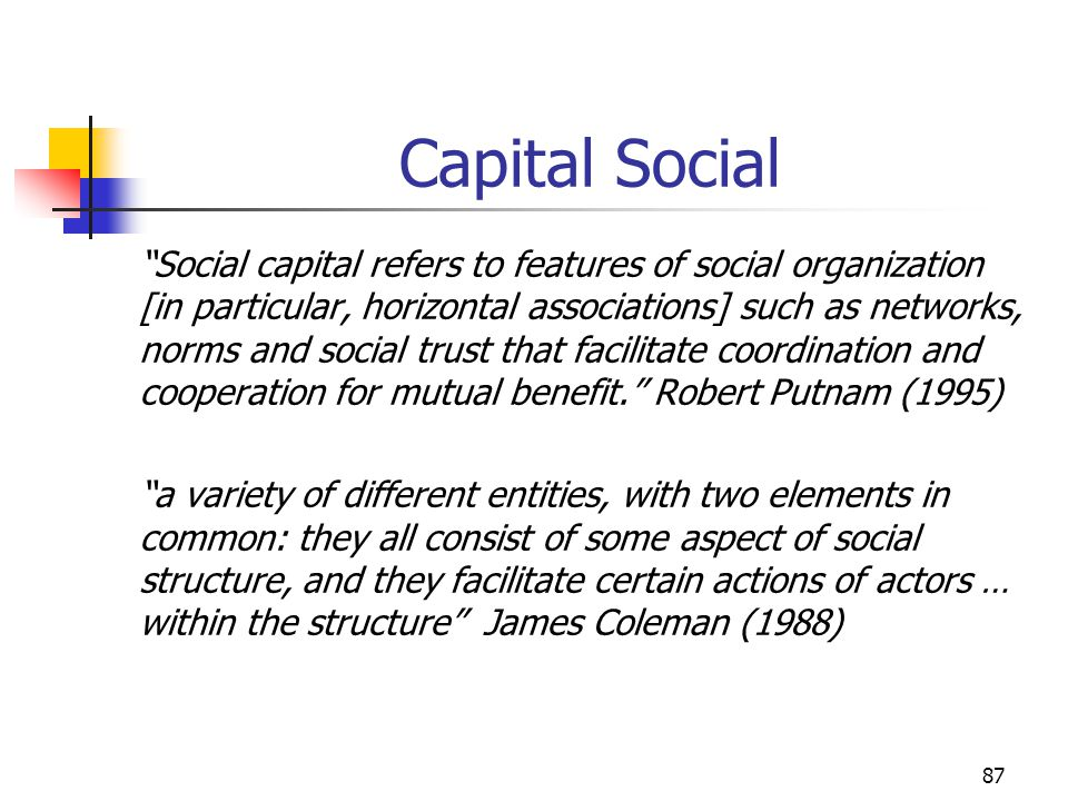 87 Capital Social Social capital refers to features of social organization [in particular, horizontal associations] such as networks, norms and social