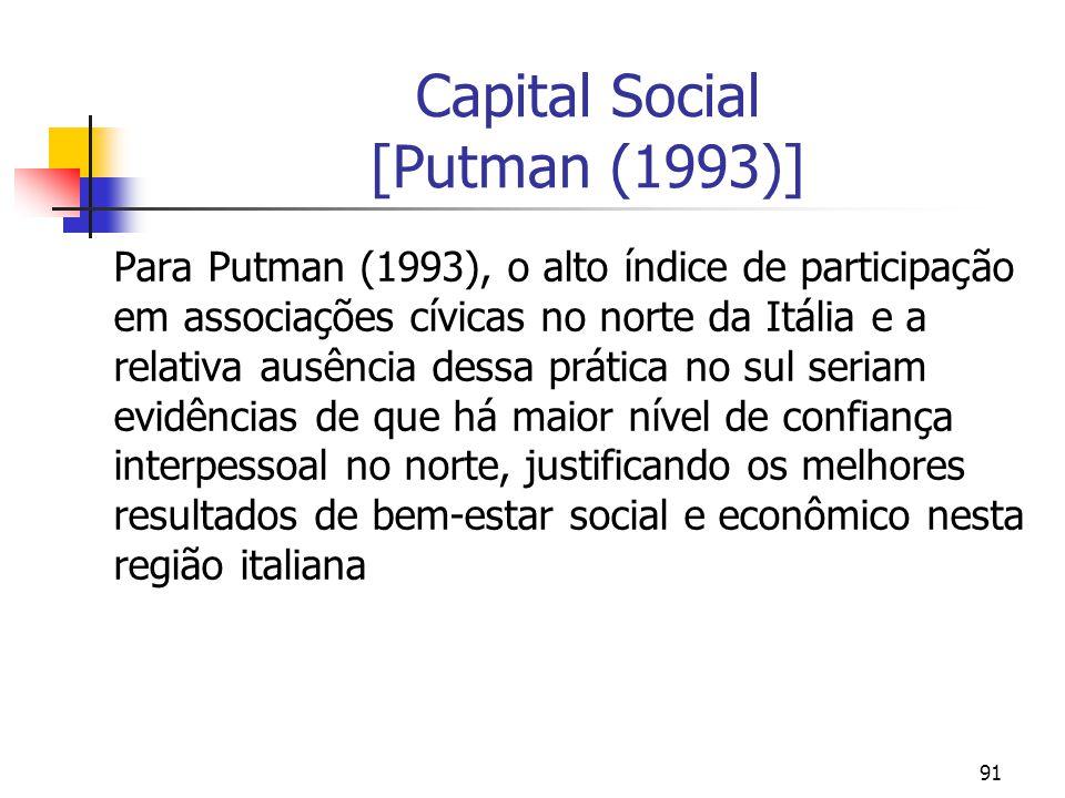 91 Capital Social [Putman (1993)] Para Putman (1993), o alto índice de participação em associações cívicas no norte da Itália e a relativa ausência dessa prática no sul seriam evidências de que há maior nível de confiança interpessoal no norte, justificando os melhores resultados de bem-estar social e econômico nesta região italiana