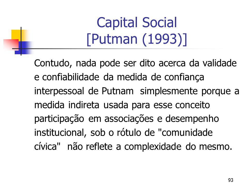 93 Capital Social [Putman (1993)] Contudo, nada pode ser dito acerca da validade e confiabilidade da medida de confiança interpessoal de Putnam simple
