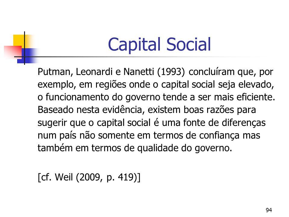 94 Capital Social Putman, Leonardi e Nanetti (1993) concluíram que, por exemplo, em regiões onde o capital social seja elevado, o funcionamento do governo tende a ser mais eficiente.