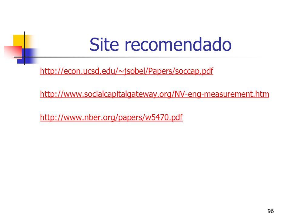 96 Site recomendado http://econ.ucsd.edu/~jsobel/Papers/soccap.pdf http://www.socialcapitalgateway.org/NV-eng-measurement.htm http://www.nber.org/papers/w5470.pdf