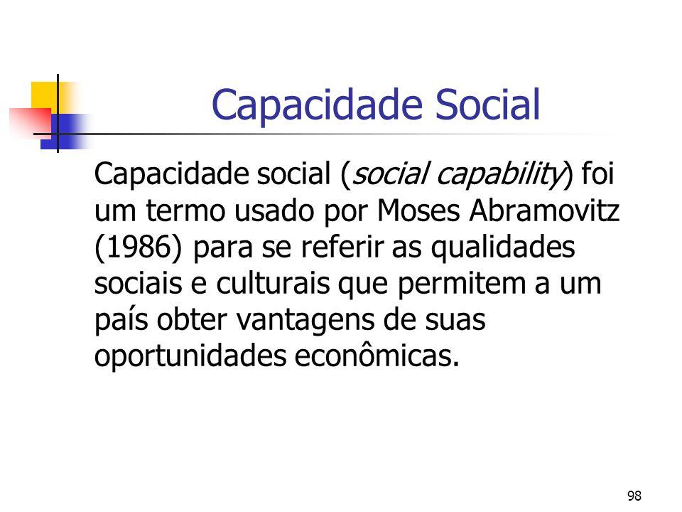 98 Capacidade Social Capacidade social (social capability) foi um termo usado por Moses Abramovitz (1986) para se referir as qualidades sociais e culturais que permitem a um país obter vantagens de suas oportunidades econômicas.