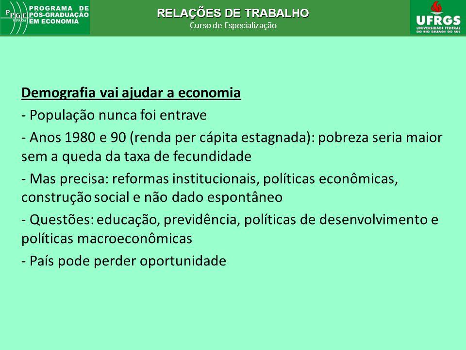 RELAÇÕES DE TRABALHO Curso de Especialização RELAÇÕES DE TRABALHO Curso de Especialização Demografia vai ajudar a economia - População nunca foi entra
