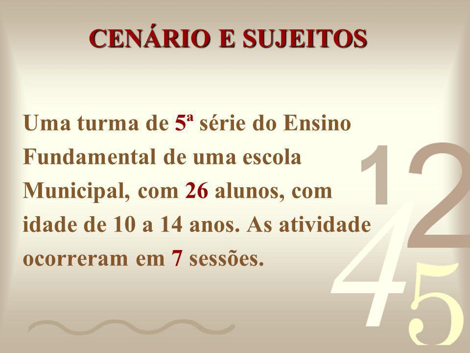 CENÁRIO E SUJEITOS Uma turma de 5ª série do Ensino Fundamental de uma escola Municipal, com 26 alunos, com idade de 10 a 14 anos.