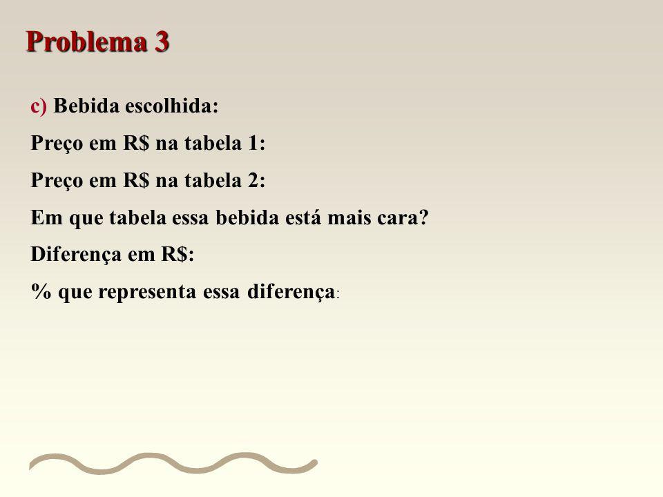 Problema 3 b) Material de limpeza ou de higiene escolhido: Preço em R$ na tabela 1: Preço em R$ na tabela 2: Em que tabela esse material de limpeza ou