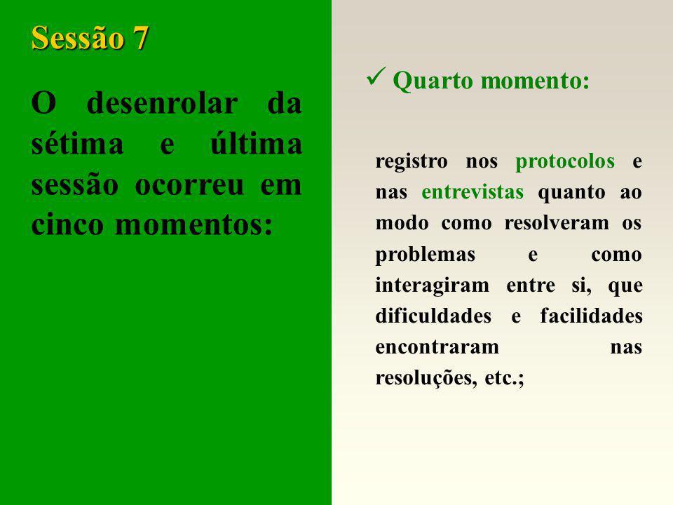 O desenrolar da sétima e última sessão ocorreu em cinco momentos: Sessão 7 Terceiro momento: resolução dos problemas propostos;