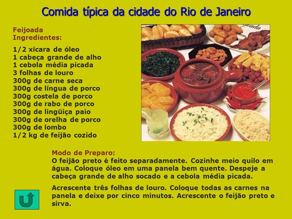 Feijoada Ingredientes: 1/2 xícara de óleo 1 cabeça grande de alho 1 cebola média picada 3 folhas de louro 300g de carne seca 300g de língua de porco 3
