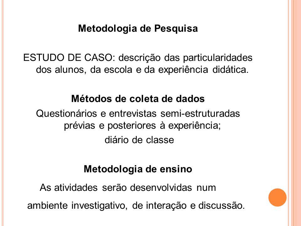 Metodologia de Pesquisa ESTUDO DE CASO: descrição das particularidades dos alunos, da escola e da experiência didática. Métodos de coleta de dados Que