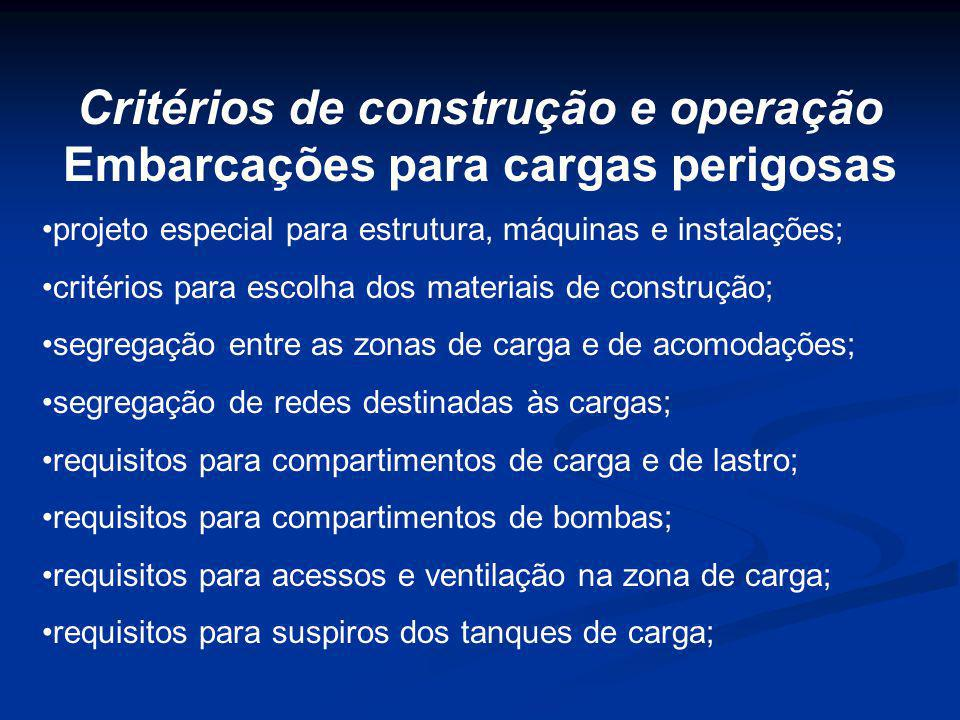 projeto especial para estrutura, máquinas e instalações; critérios para escolha dos materiais de construção; segregação entre as zonas de carga e de a