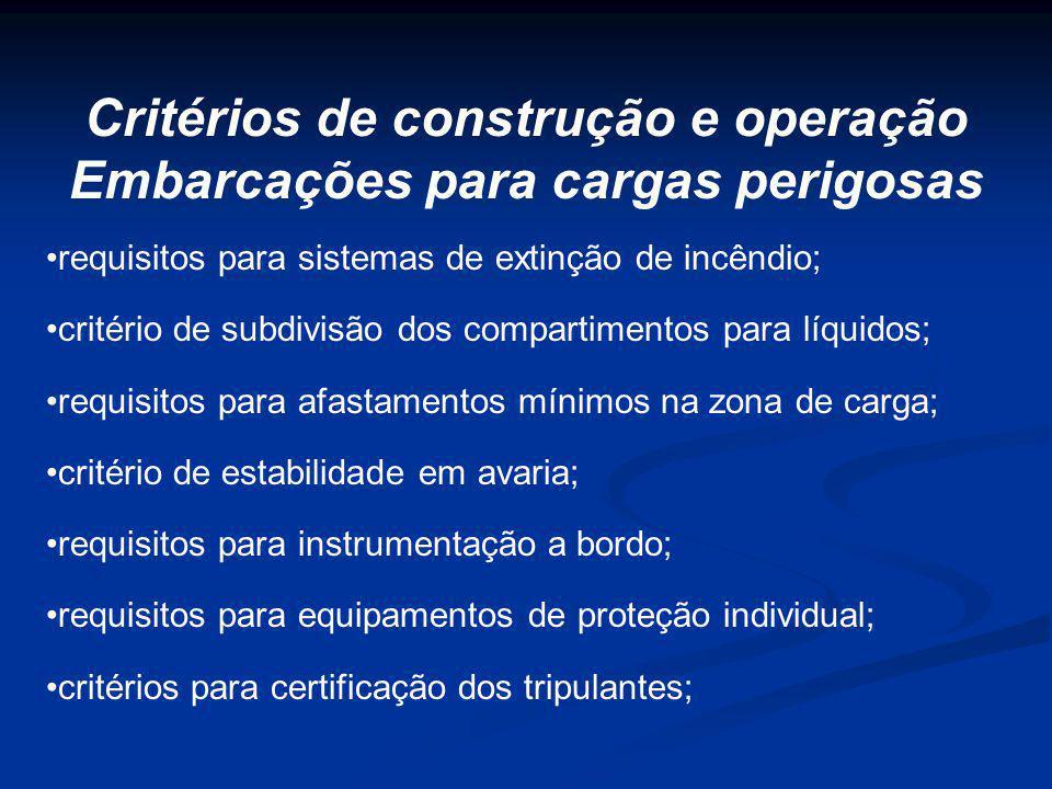 requisitos para sistemas de extinção de incêndio; critério de subdivisão dos compartimentos para líquidos; requisitos para afastamentos mínimos na zon