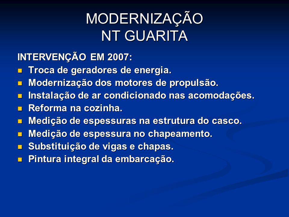 MODERNIZAÇÃO NT GUARITA INTERVENÇÃO EM 2007: Troca de geradores de energia. Troca de geradores de energia. Modernização dos motores de propulsão. Mode
