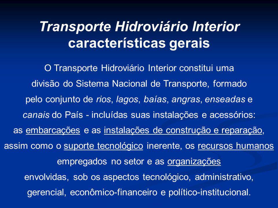 O Transporte Hidroviário Interior constitui uma divisão do Sistema Nacional de Transporte, formado pelo conjunto de rios, lagos, baías, angras, ensead